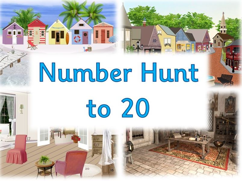 Number Hunt to 20 - Numeral Recognition Activity