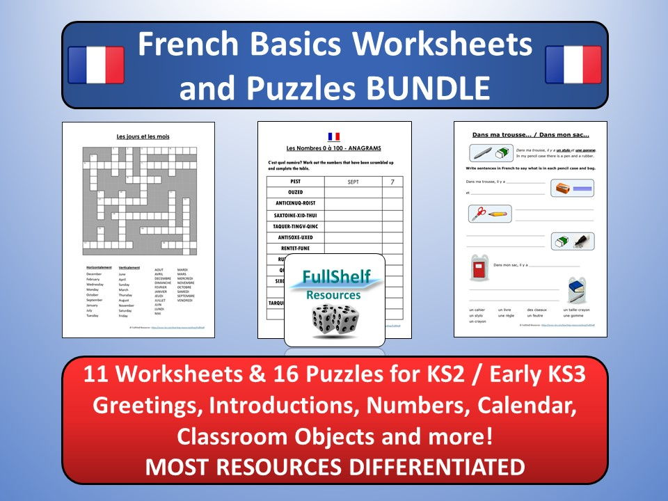 French Basics BUNDLE (Worksheets / Puzzles) KS2 / KS3