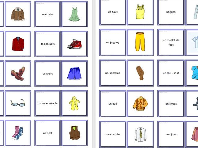 Les vêtements - Clothing Flashcards to Laminate - 20 pictures and words