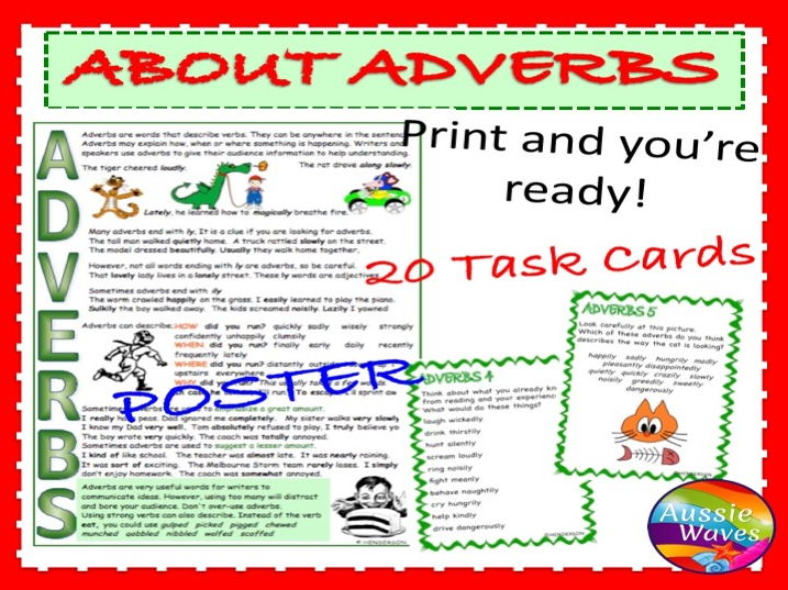 Teaching Parts of Speech ADVERBS Task Cards and Poster