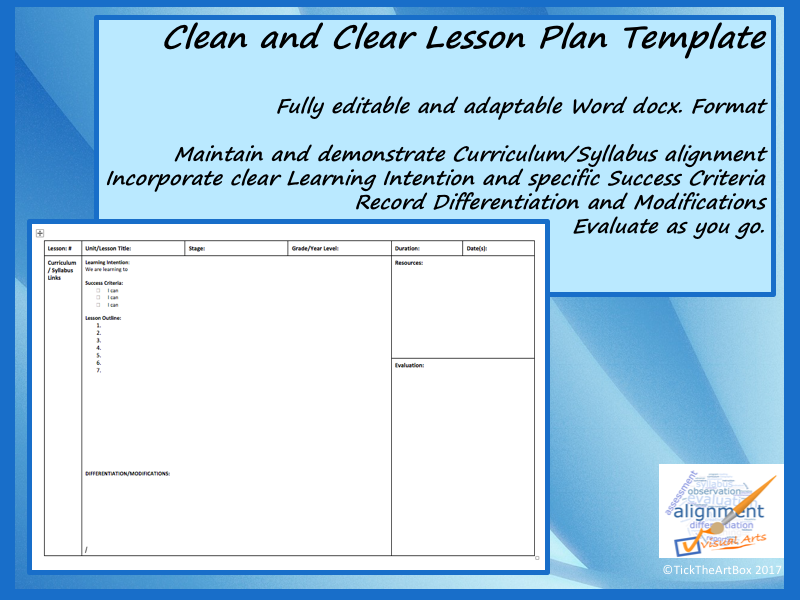 clean and clear lesson plan template by ticktheartbox teaching resources tes. Black Bedroom Furniture Sets. Home Design Ideas