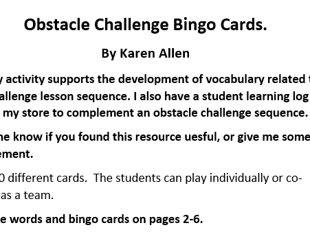 Obstacle Challenge Bingo Game Cards