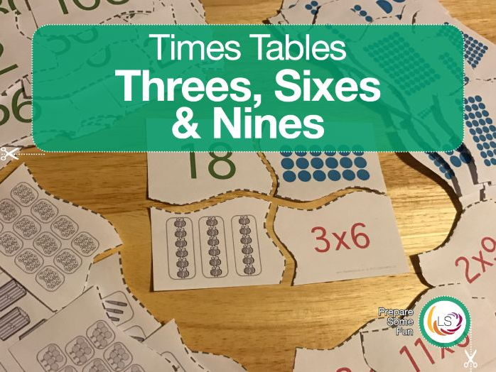 Times Tables Matching Puzzle THREE's, SIX'S & NINE'S