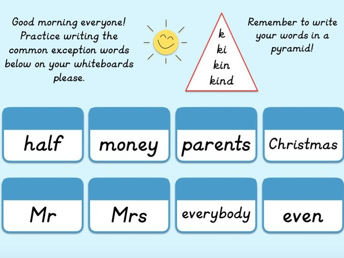 Year 2 Common Exception Word Starters
