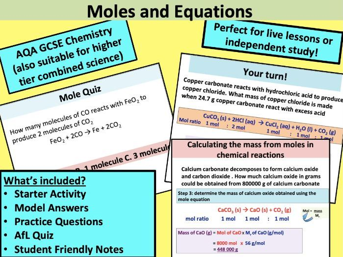 GCSE Chemistry: Moles and Equations (higher tier)
