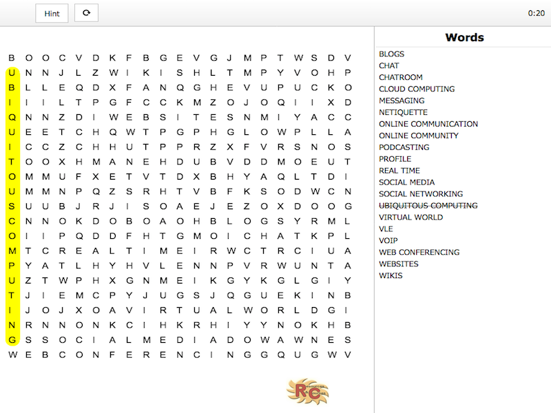 BTEC I&CT - Unit 1 Online World Learning Outcome A Word Search