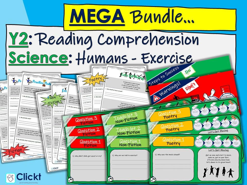 Year 2 Reading Comprehension MEGA-BUNDLE: Science: Animals, including humans: Exercise