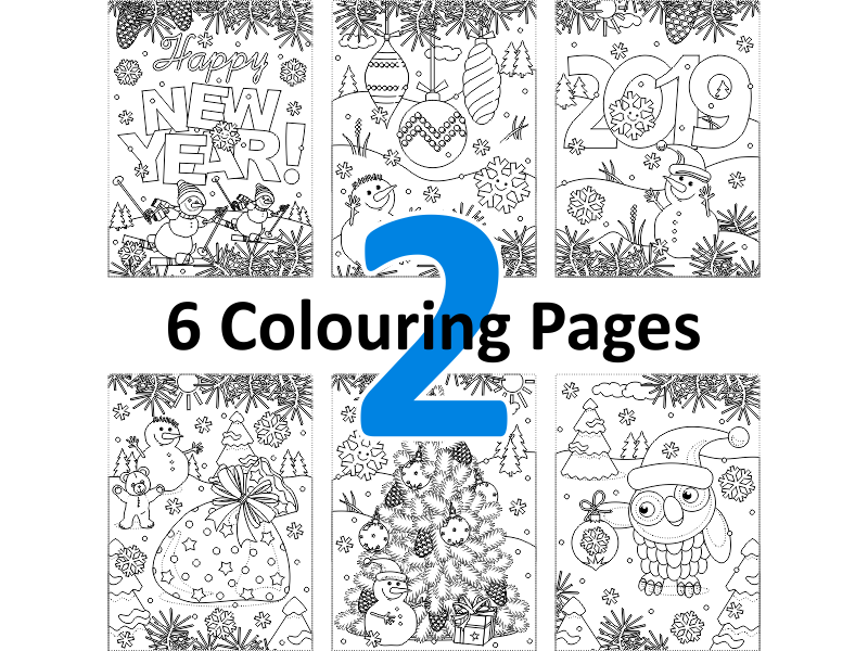 6 Colouring Pages, Set 2, Winter and Holidays