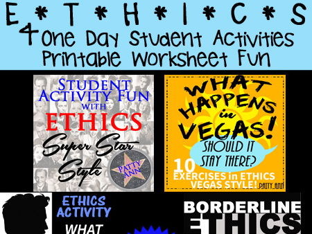 ETHICS CIVICS 4-Pack $AVING > 4 One-Day Student Activities~Printable Worksheets!