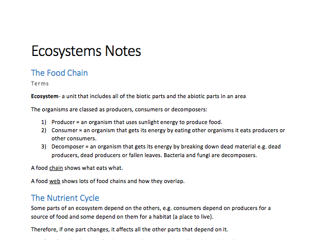 GCSE Geography- Ecosystems Notes (a complete comprehensive guide!)