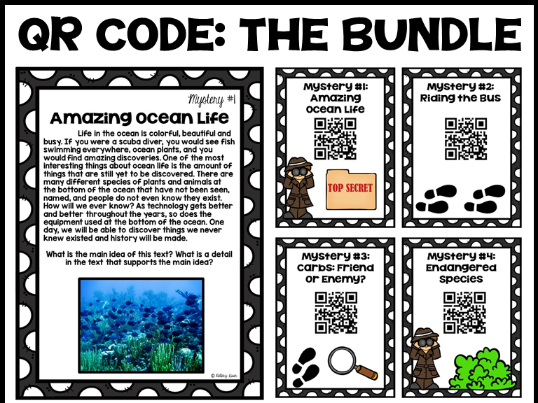 QR Code Literacy Activities: 3rd and 4th Grade Bundle
