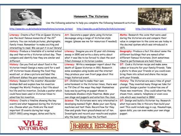The Victorians Homework Tasks