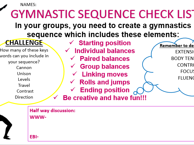 Gymnastic sequence checklist