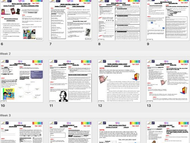 KS3 AND KS4 English Home Learning Schemes