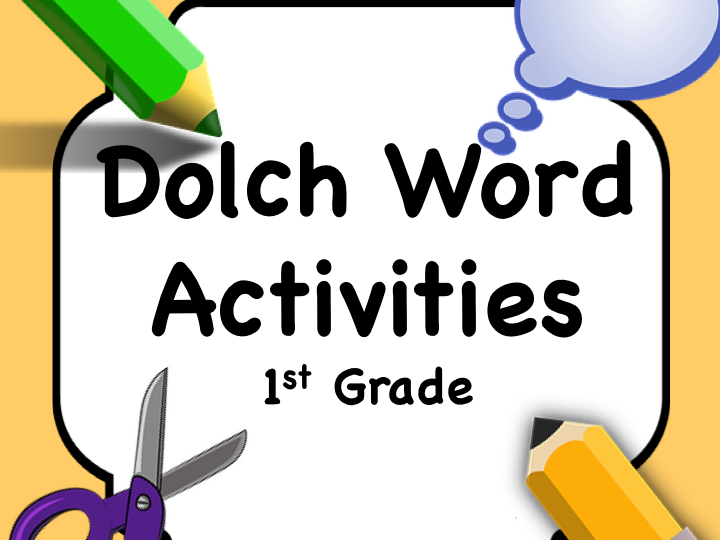 Dolch Words 1st Grade: Activity Sheet/Word + Matching Cards. COLOR and B&W