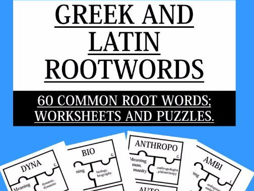 GREEK AND LATIN ROOTWORDS 60 COMMON ROOT WORDS WORKSHEETS AND – Latin Root Words Worksheet