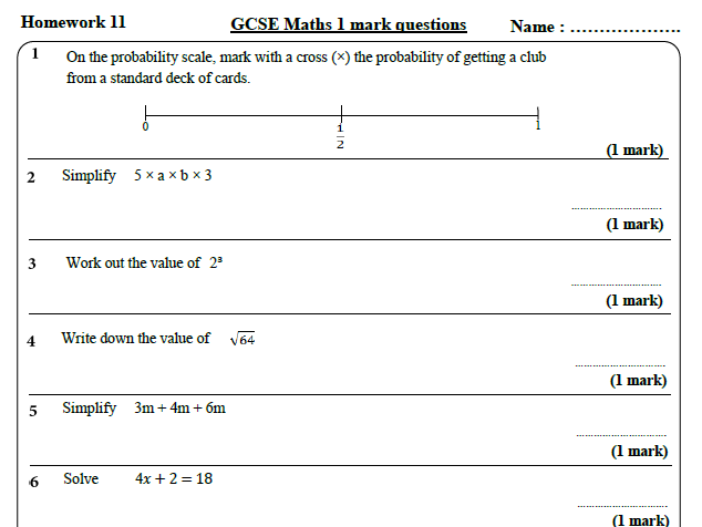 10 GCSE Maths Foundation Homework Revision (9-1) Part 2 -Includes all  ANSWERS