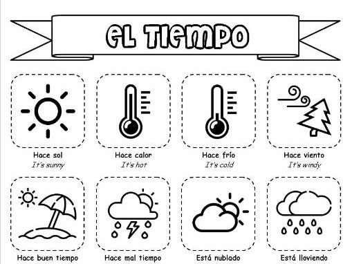 El tiempo - The weather - Booklet of activities