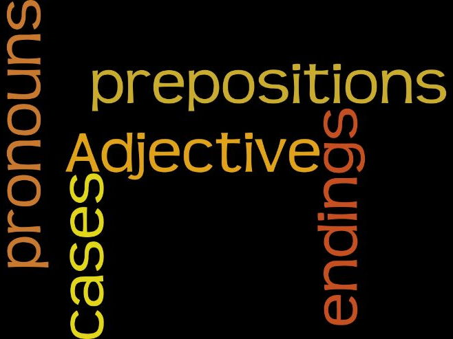 Cases, adjective endings, prepositions and pronouns - handout