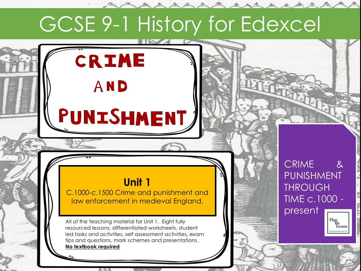 edexcel gcse 9 1 history crime and punishment c1000 c1500 by planmylesson teaching resources. Black Bedroom Furniture Sets. Home Design Ideas