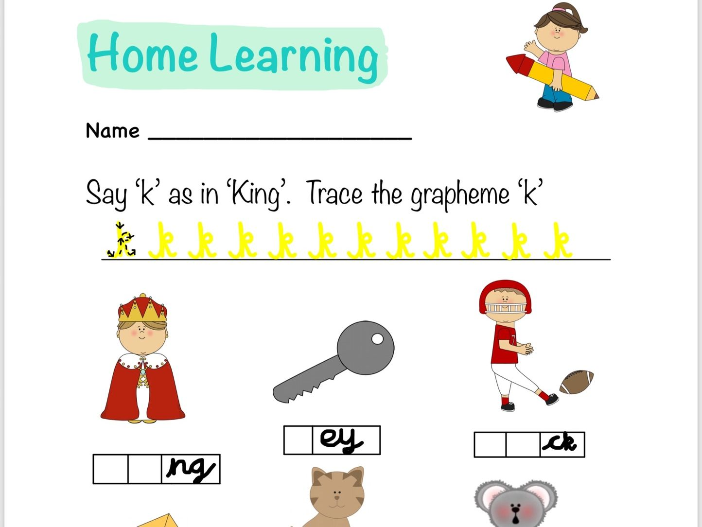 M, D, G, O, C, K Phonics Letters and Sounds Homework Sheets
