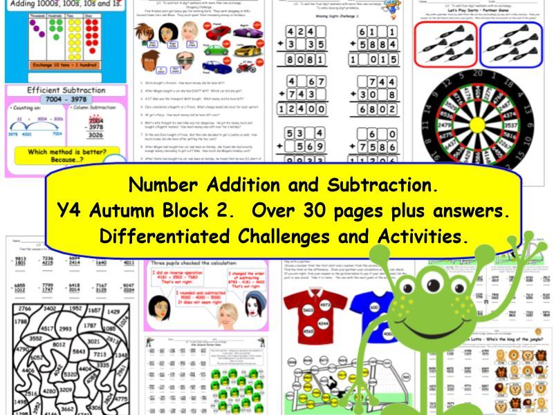 Addition & Subtraction Y4 Autumn Block 2 KS2 Differentiated Challenges