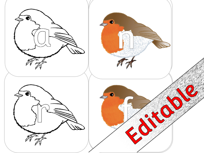 WINTER Robin ALPHABET Posters/Cards/Display/Colouring – EDITABLE