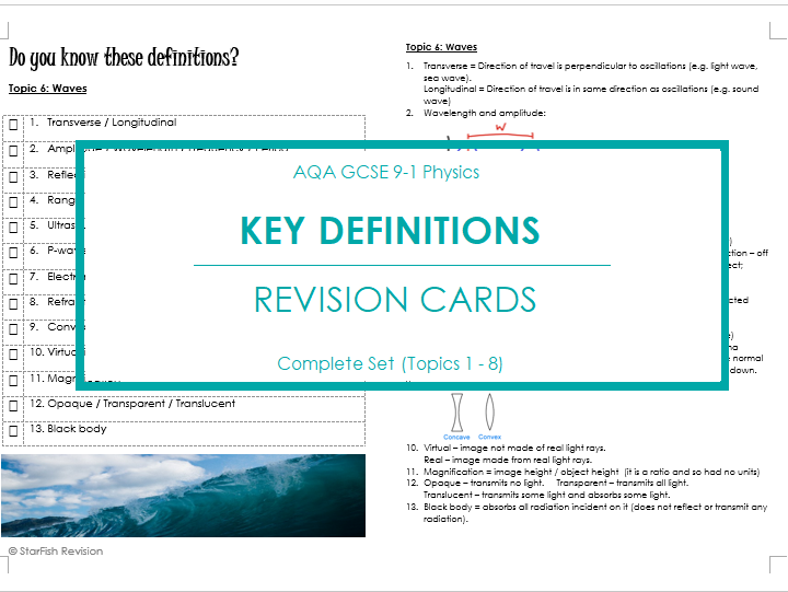 AQA GCSE 9-1 Physics: REVISE YOUR DEFINITIONS! Topics 1-8