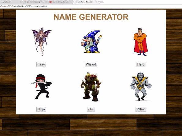 JavaScript fantasy name generator