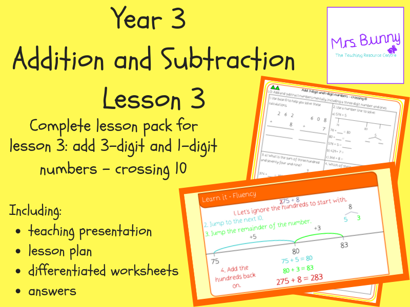 Add 3-digit and 1-digit numbers - crossing 10 lesson pack (Year 3 Addition and Subtraction)