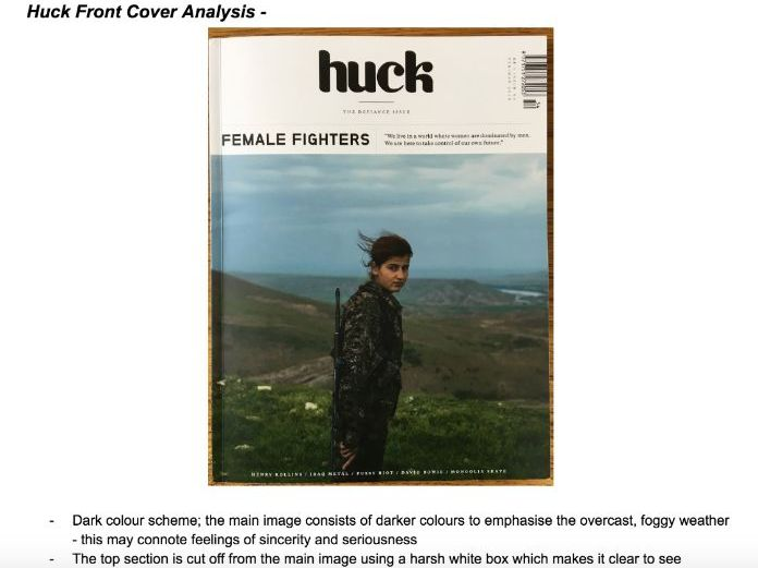 Huck Magazine Analysis - Front Cover