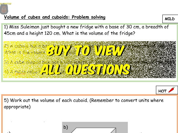 Volume: Cuboid (Differentiated Problem solving)