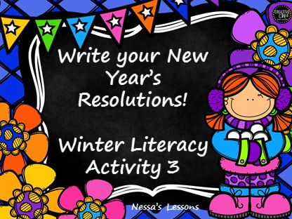 Winter literacy activity- write your New Year's Resolutions