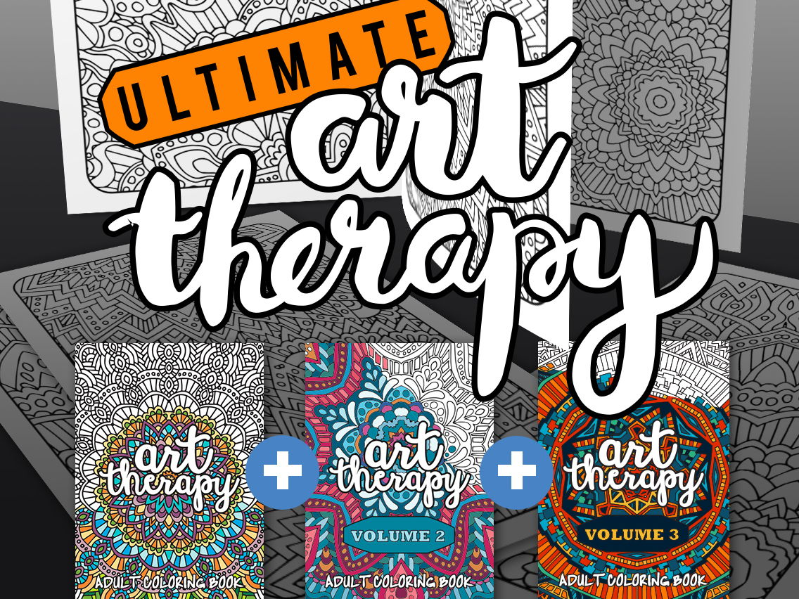 Adult Coloring Books | Ultimate Art Therapy Bundle | 60 adult coloring pages in total over 3 coloring books | Printable PDF