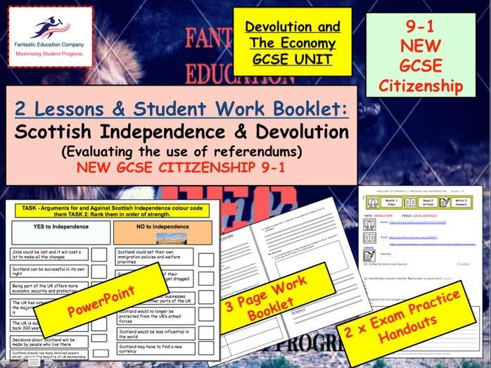 NEW GCSE Citizenship (9-1) Scottish Independence Referendum - Devolution of power x2 lessons