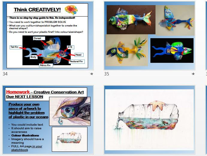 Ocean Conservation - Art and Design KS3 KS4 - Blue Planet II Inspired - 3D, Drawing, Artist Research