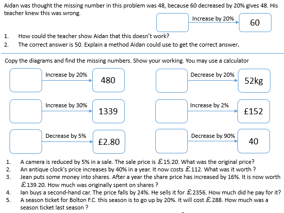 Introduction to reverse percentages