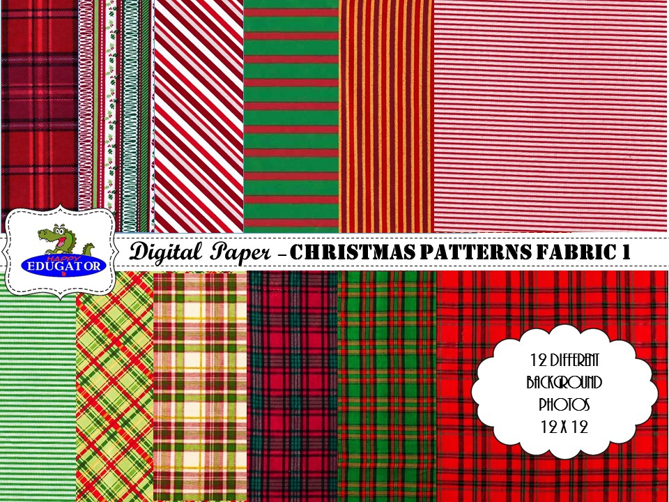 Christmas Patterns Fabric Photo Backgrounds - Digital Paper - Plaids and Stripes