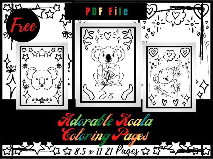 FREE Adorable Koala Colouring Pages For kids, Free Koala Colouring Sheets PDF