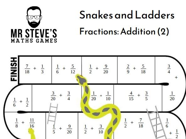 Fractions Addition and Subtraction Snakes and Ladders game year 5, 6, 7, 8, 9