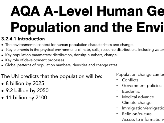 AQA A Level Geography: Population and the Environment - Introduction