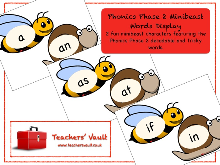 Phonics Phase 2 Minibeast Words Display