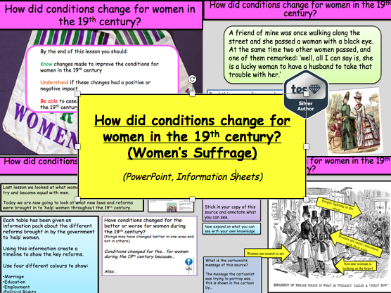 How did conditions change for women in the 19th century? (Women's Suffrage)