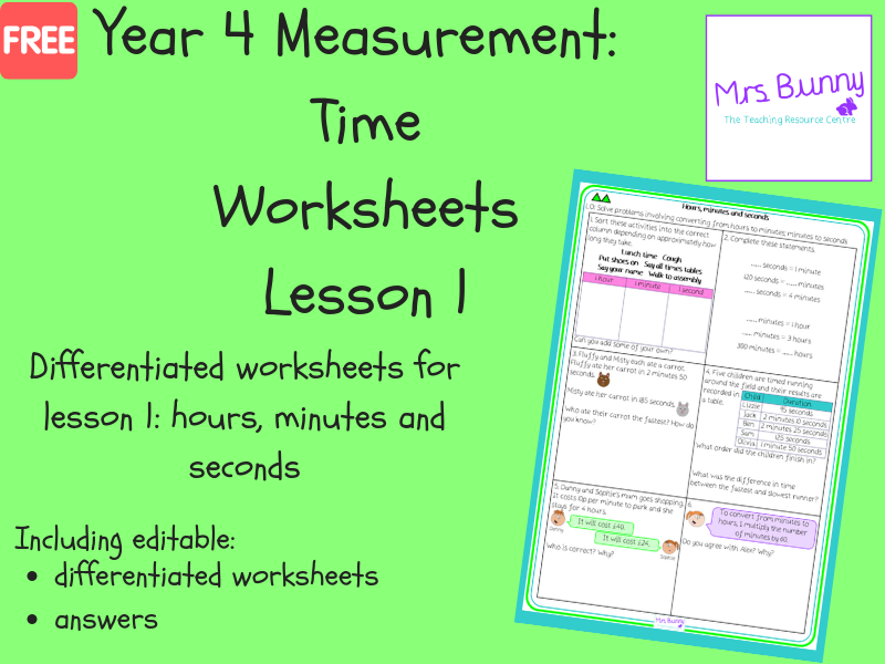 1. Time: hours, minutes and seconds worksheets (Y4)