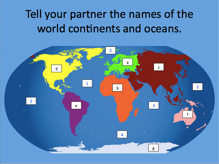 World Continents and Oceans - presentation and differentiated activity