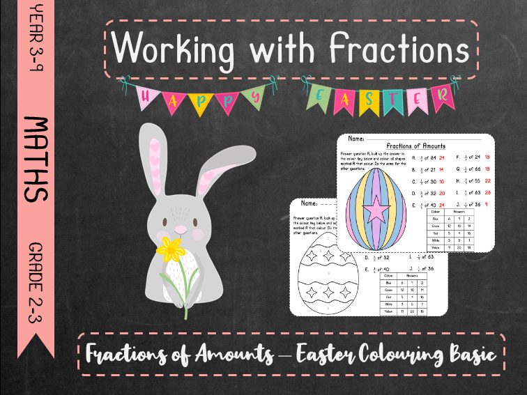Working With Fractions - Fractions of Amounts Easter Colouring Basic