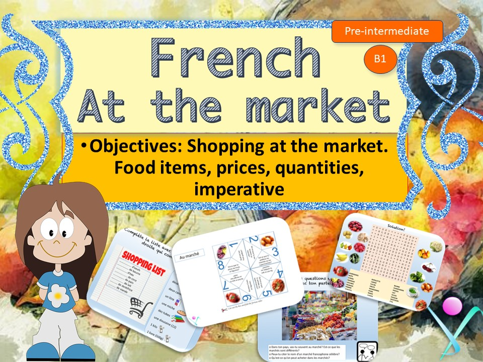 Shopping in market - french interactive activities and video