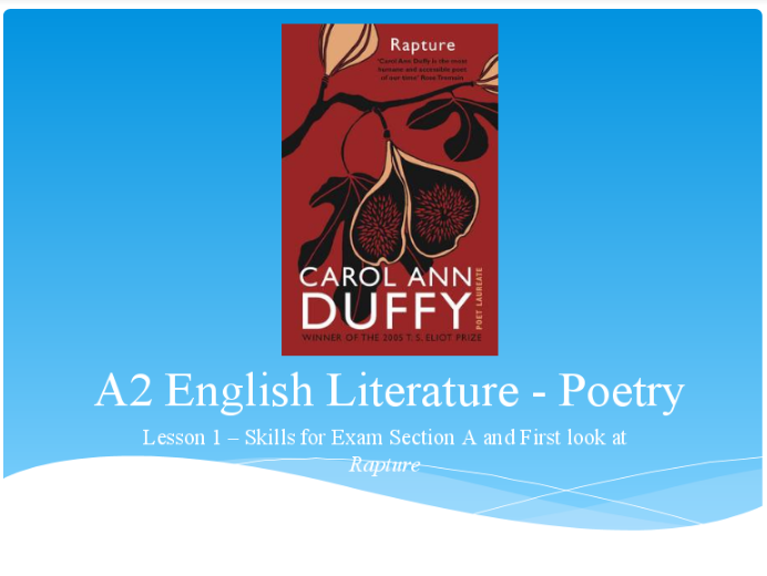 Introduction to Poetry - Carol Ann Duffy - You