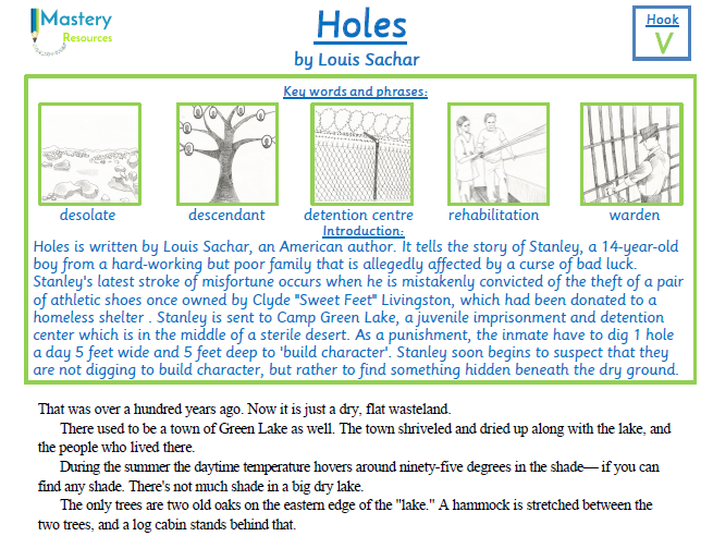 Holes by Louis Sachin Comprehension UPKS2