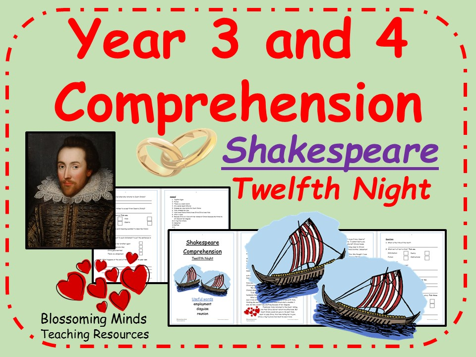 Twelfth Night Comprehension - Shakespeare - Year 3 and 4